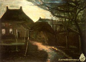 Casa parroquial de Nuenen a la luz de la luna, 1885. Vincent Van Gogh